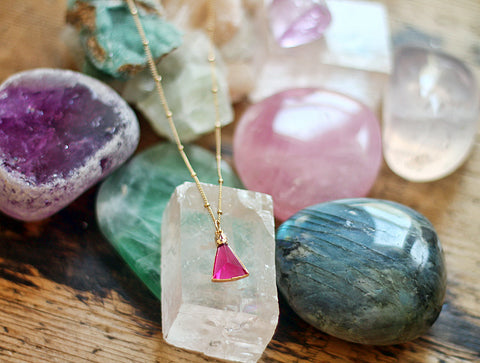 Gypsy Star Rose Hydro Quartz Triangle charm on gold chain necklace by Sage