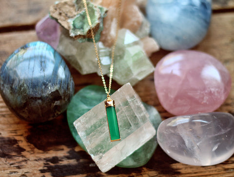Gypsy Star green onyx rectangle charm on gold chain necklace by Sage