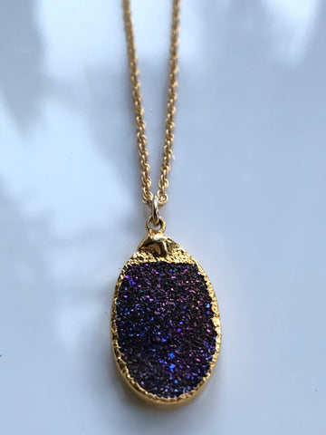 Eggplant Druzy Quartz Charm Necklace by Sage Machado, Eggplant Druzy Quartz Charm Gold Necklace