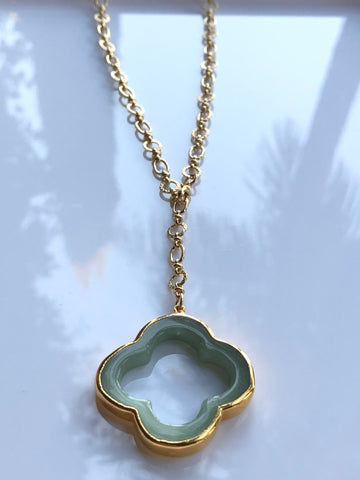 Aventurine Clover Necklace by Sage Machado, Aventurine Clover Gold Necklace - The Sage Lifestyle
