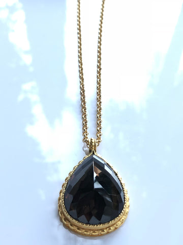 Smoky Topaz Teardrop Necklace by Sage Machado, Smoky Topaz Teardrop Gold Necklace