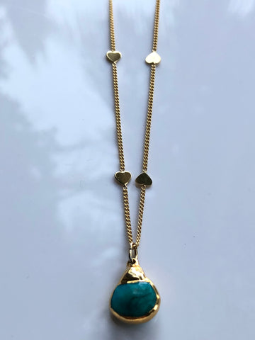 Arizona Turquoise Drop on Heart Necklace by Sage Machado, Arizona Turquoise Drop on Gold Heart Necklace - The Sage Lifestyle