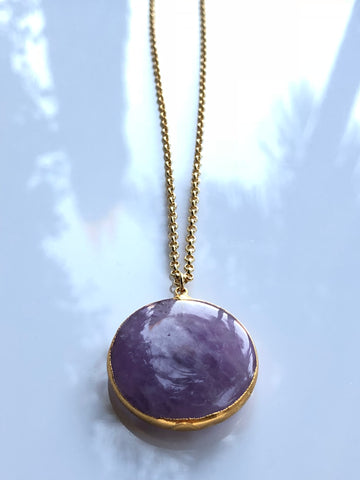 Amethyst Full Moon Drop Necklace by Sage Machado, Amethyst Full Moon Drop Gold Necklace - The Sage Lifestyle