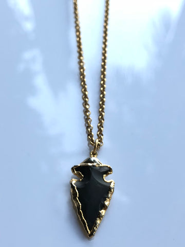 Jasper Arrowhead Necklace by Sage Machado, Jasper Arrowhead Gold Necklace