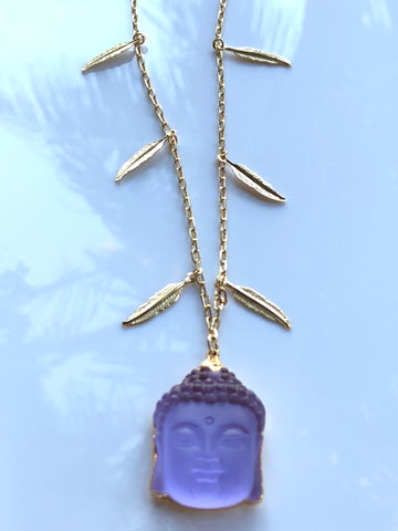Amethyst Buddha on Gold Feather Chain by Sage Machado, Amethyst Buddha Gold Necklace - The Sage Lifestyle