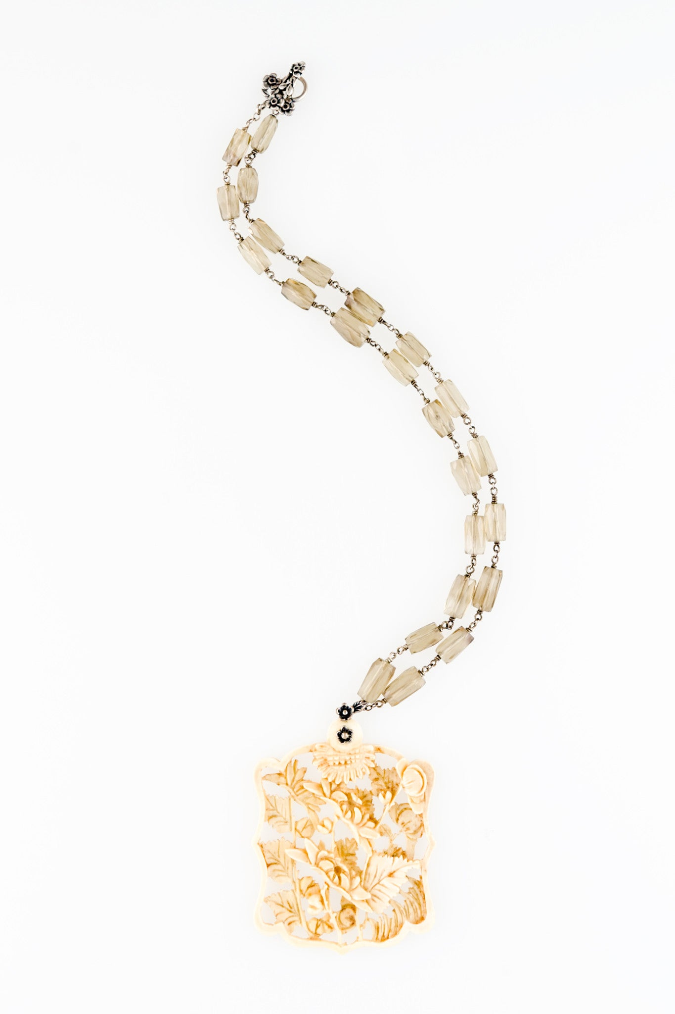 Circa 1920 Vintage Hand Carved Bone Floral One of a kind Necklace by Sage - The Sage Lifestyle