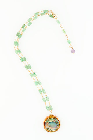 Circa 1900 Vintage 10K and Abalone Charm Necklace