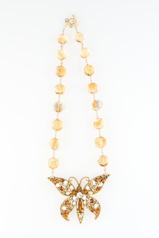 Circa 1960 Vintage Austrian Crystal Butterfly Necklace