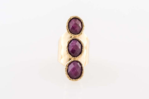 Ruby Triple Oval Full Finger Ring