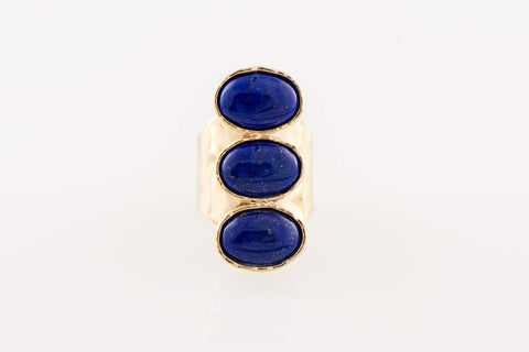 Blue Lapis Oval Full Finger Ring - The Sage Lifestyle