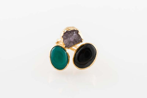 Black Obsidian Quartz Green Onyx Cluster Ring by Sage - The Sage Lifestyle