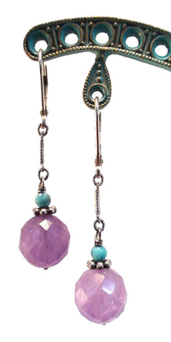 Cape Amethyst and Turquoise Earrings