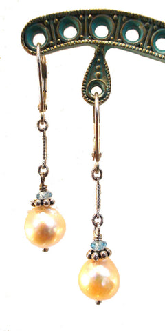 Cultured Pearl and Blue Topaz Earrings