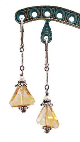 Citrine Triangle and Freshwater Pearl Earrings