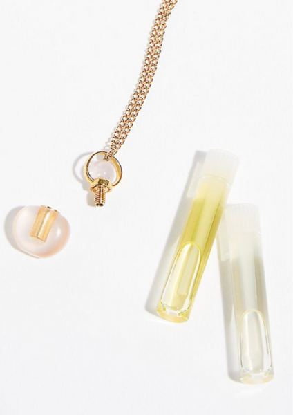 Rose Quartz Chloe Gemstone Perfume Bottle Gold Necklace by Sage Machado - The Sage Lifestyle