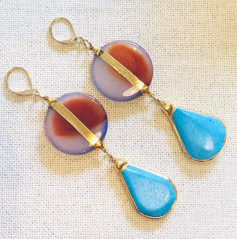 Sunset Agate Sun with Arizona Turquoise Drop Gold Earrings by Sage Machado