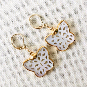 Handcarved Gold Mother of Pearl Butterfly Earrings by Sage Machado