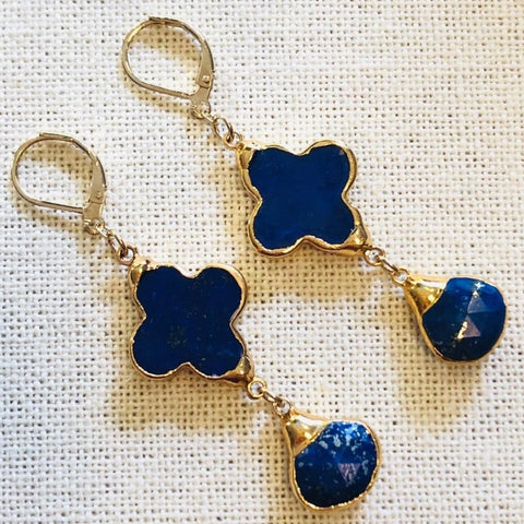 Blue Lapis Clover and Charm Gold Earrings by Sage Machado