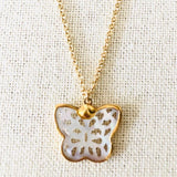 Handcarved Mother of Pearl Butterfly Necklace on Gold Chain by Sage Machado