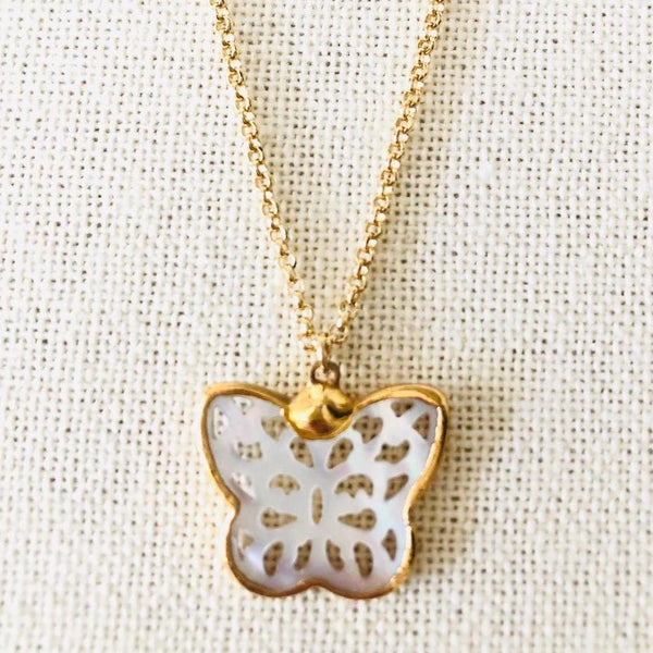 Handcarved Mother of Pearl Butterfly Necklace on Gold Chain by Sage Machado - The Sage Lifestyle