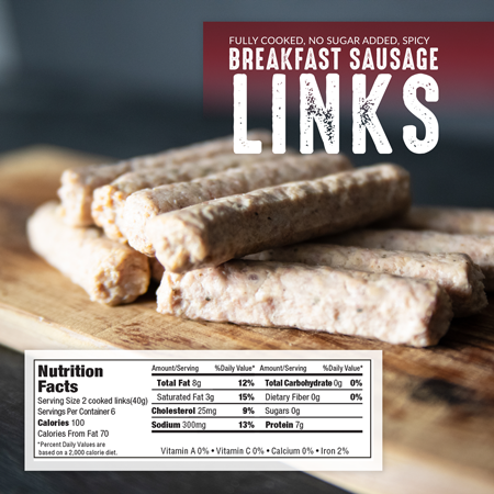 Fully Cooked No Sugar Added Spicy Breakfast Sausage Links