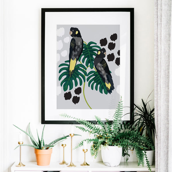 Christie Williams Black Cockatoo Grey Wall Art Print