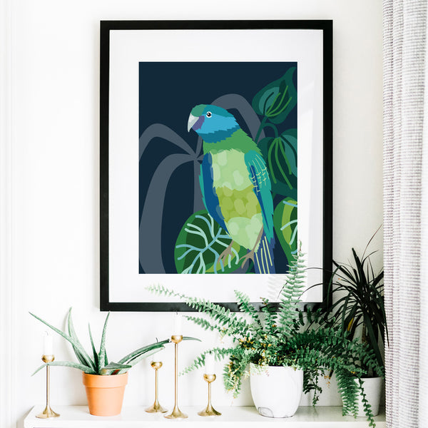 Christie Williams Cloncurry Parrot Dark Blue Wall Art Print