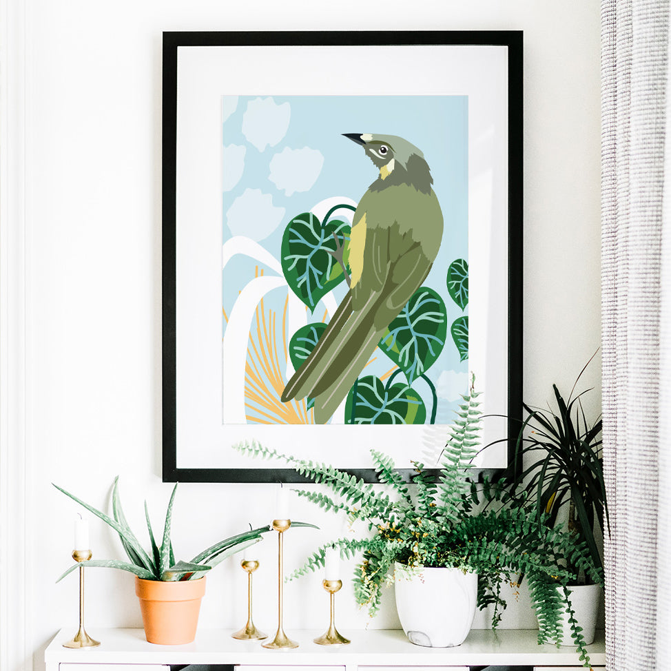 Christie Williams Lewin's Honeyeater Blue Wall Art Print