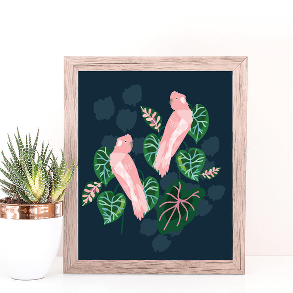 Christie Williams Tropical Galah Navy Wall Art Print