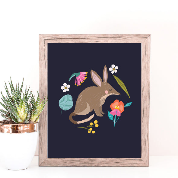 Christie Williams Bilby Navy Wall Art Print