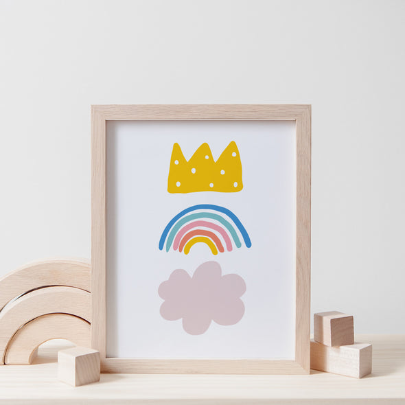 Christie Williams Crown Rainbow White Wall Art Print