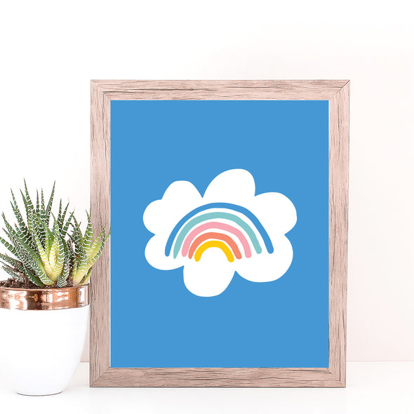 Christie Williams Rainbow Cloud Blue Wall Art Print