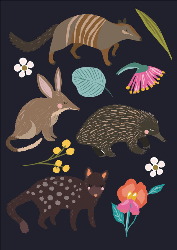 Christie Williams Aus Animals Navy Wall Art Print