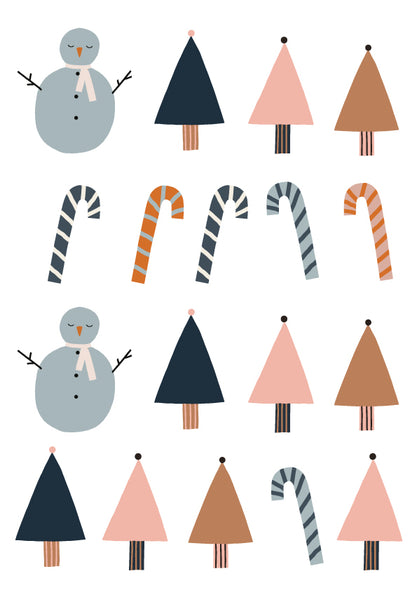 Jennifer Bouron Christmas Snowman Trees Wall Decals