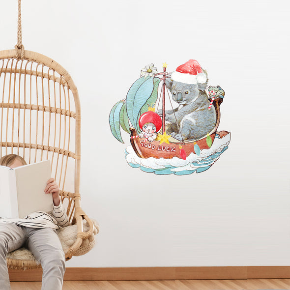 May Gibbs Christmas Koala Boat Wall Decals