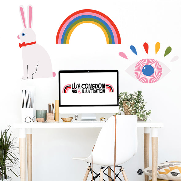 Lisa Congdon Rainbow Rabbit Eye Wall Decals
