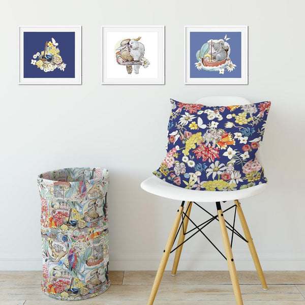 Set of 3 May Gibbs Square Wall Art Prints - Blue