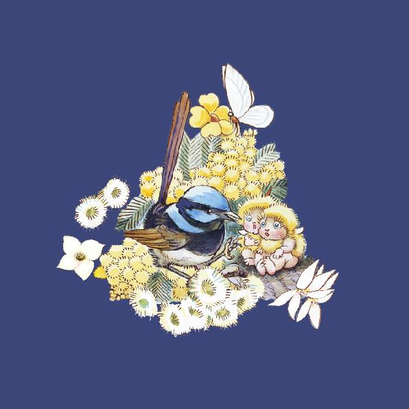 May Gibbs Fairy Wren Blue Wall Art Print