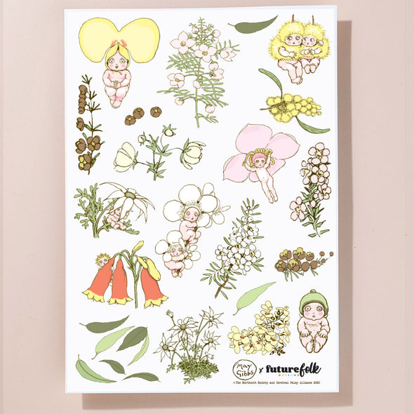 May Gibbs Floral Sticker Sheet
