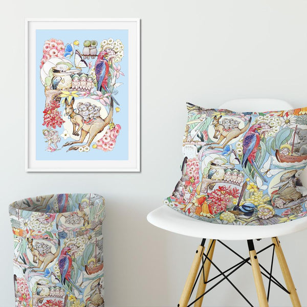 May Gibbs May's Tales Blue Wall Art Print