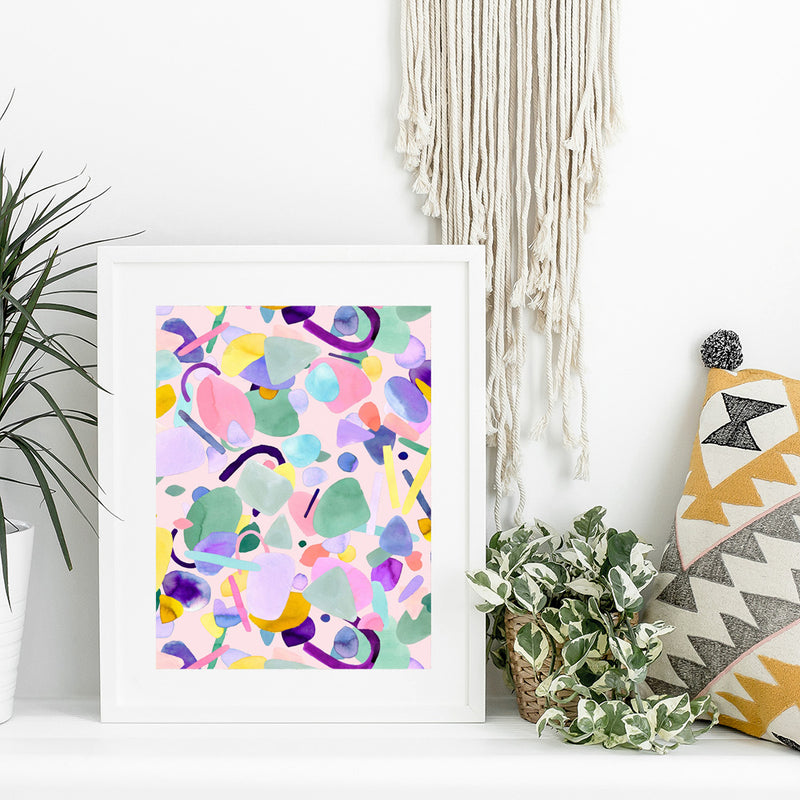 Ninola Abstract Geo Shapes Pink Wall Art Print