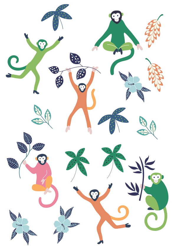The Tiny Garden Tropical Monkeys Wall Decals