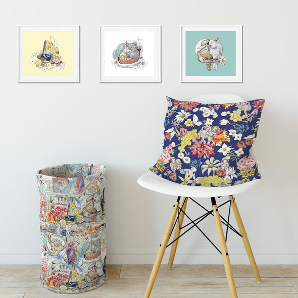 Set of 3 May Gibbs Square Wall Art Prints - Pastel