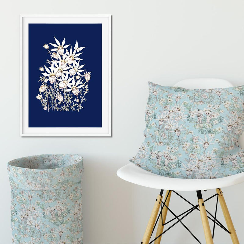 May Gibbs Flannel Flower Midnight Wall Art Print