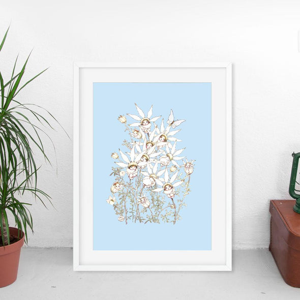 May Gibbs Flannel Flower Sky Blue Wall Print