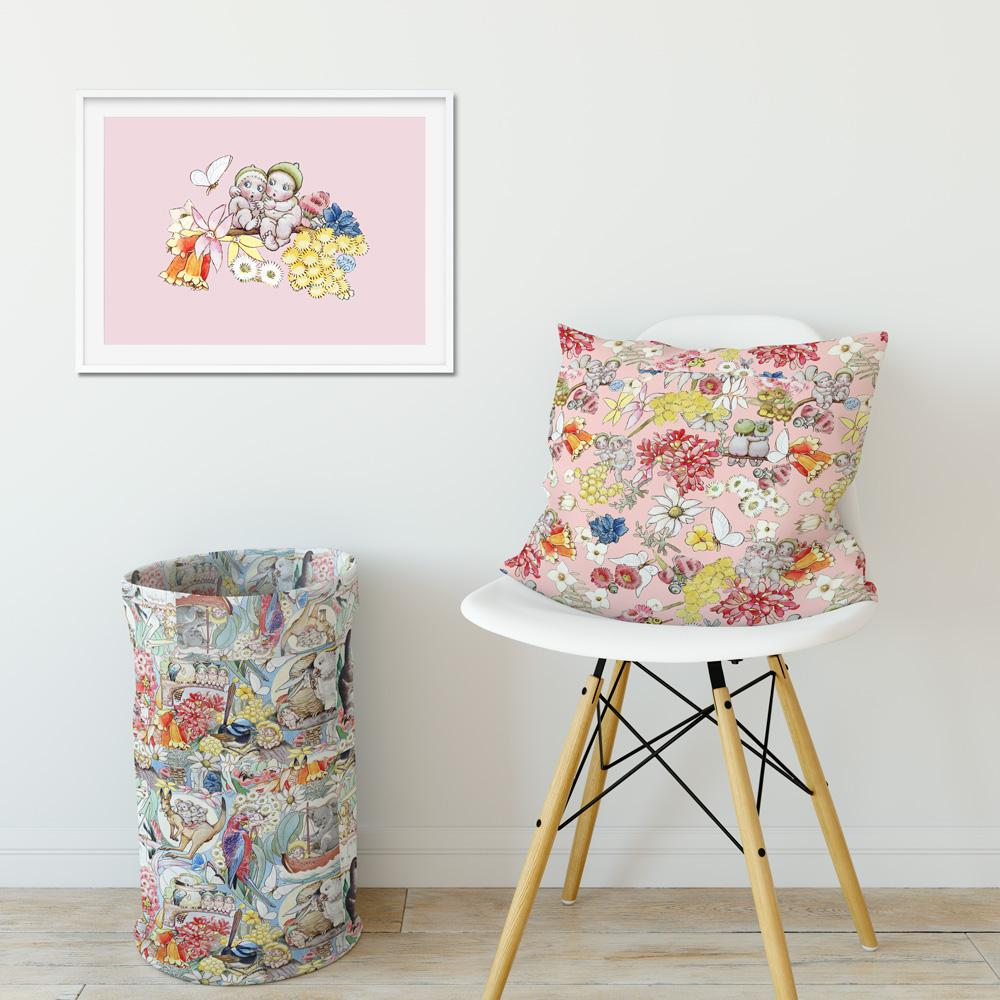 May Gibbs Gumnut Friends Pink Wall Art Print