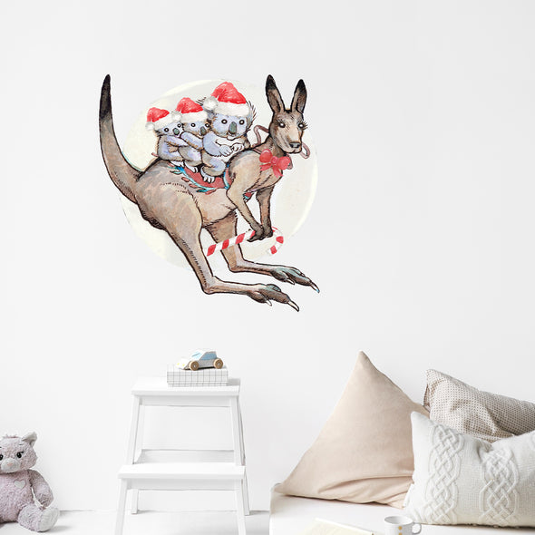 May Gibbs Christmas Jumping Kangaroo Wall Decals