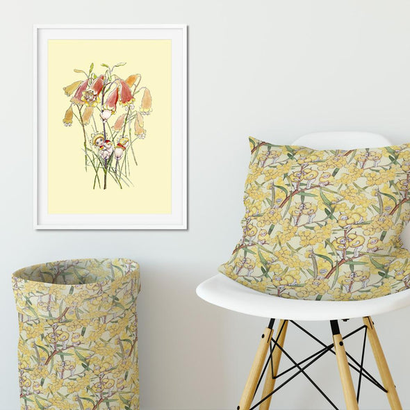 May Gibbs Yellow Flower Babies Wall Art Print