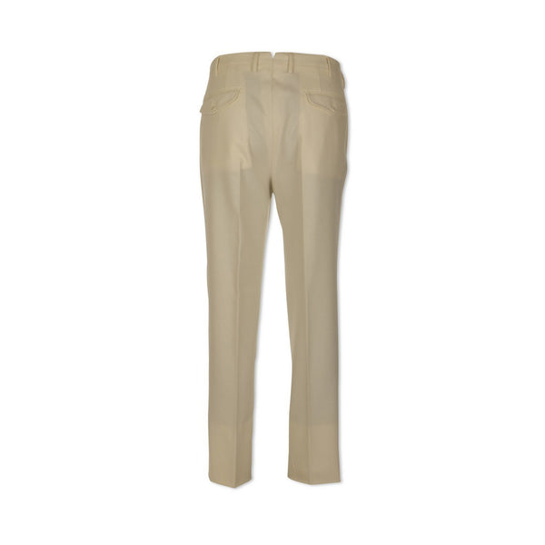 Cream Beige Flannel Slim Trousers