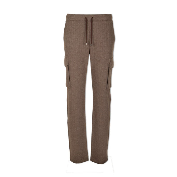 Brown Herringbone Jersey Cargo Pants